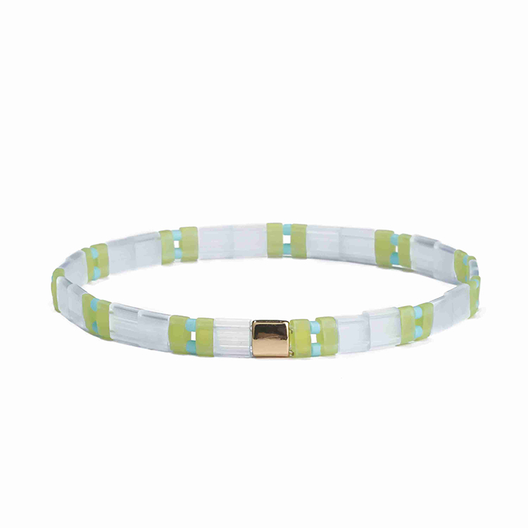 Wholesale spring style fresh translucent green color tila bracelet