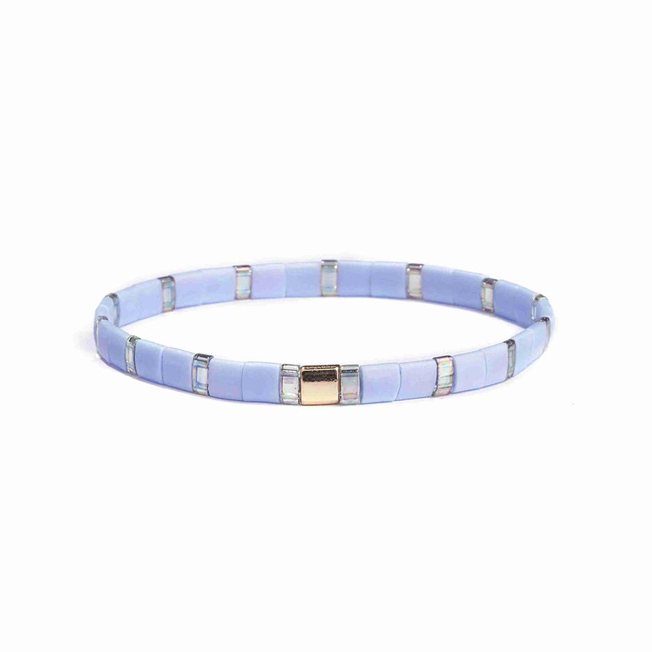 Personalized Stylish Lady Jewelry Handmade Translucent Dazzle Light Blue Color Tila Bead Bracelet