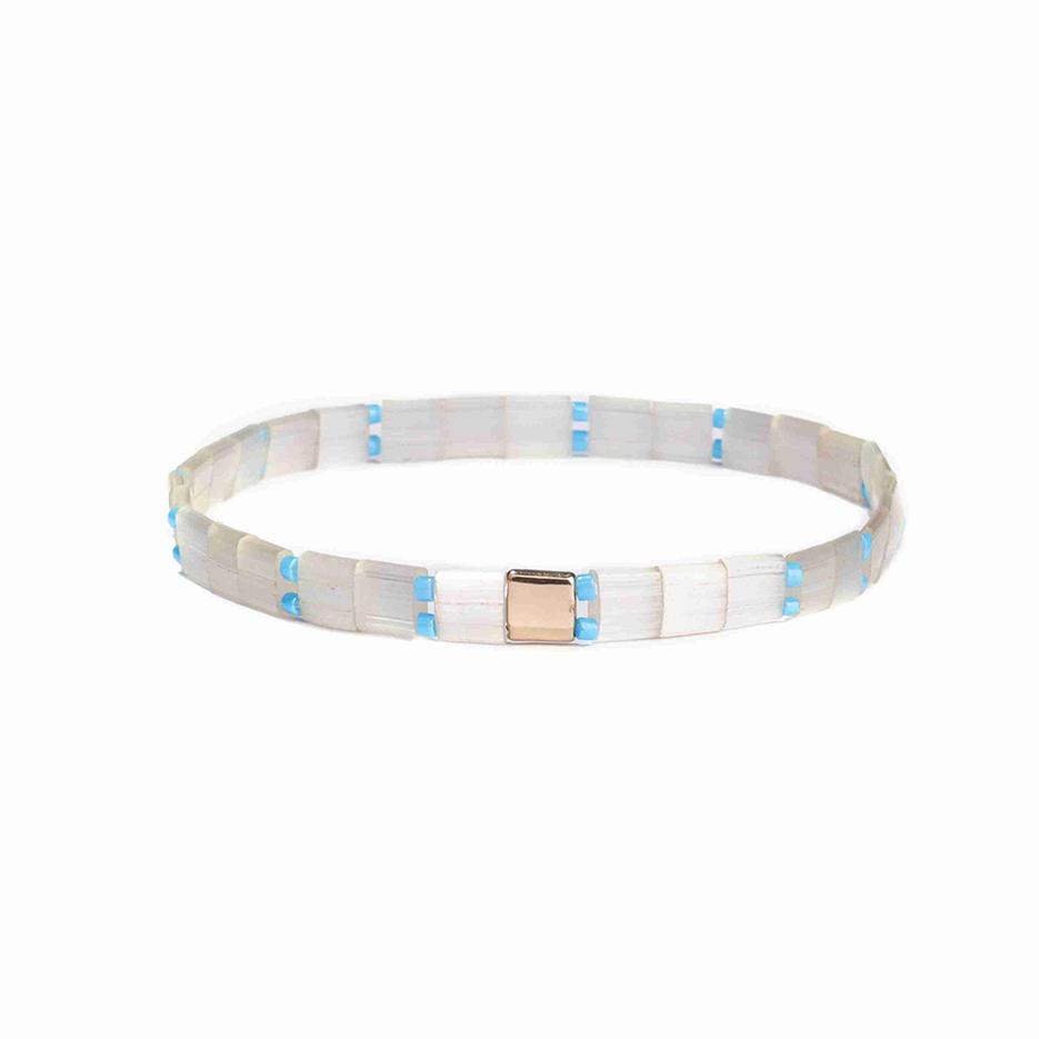 Vogue Lady Jewelry Wholesale Handmade Tramslucent Tila Blue Color Miyuki Bead Bracelet