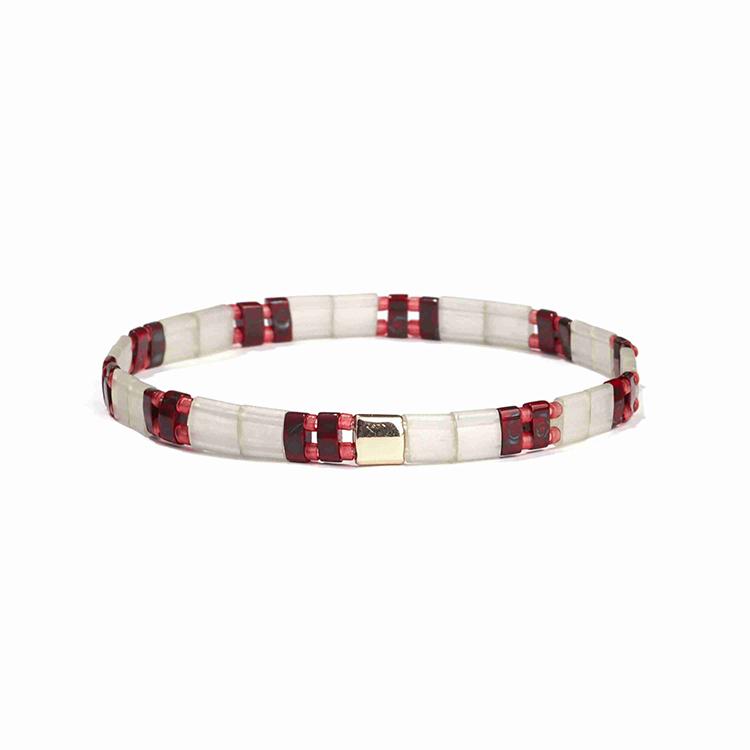 White color translucent and bright red tila mixed red miyuki bead handmade women jewelry bracelet