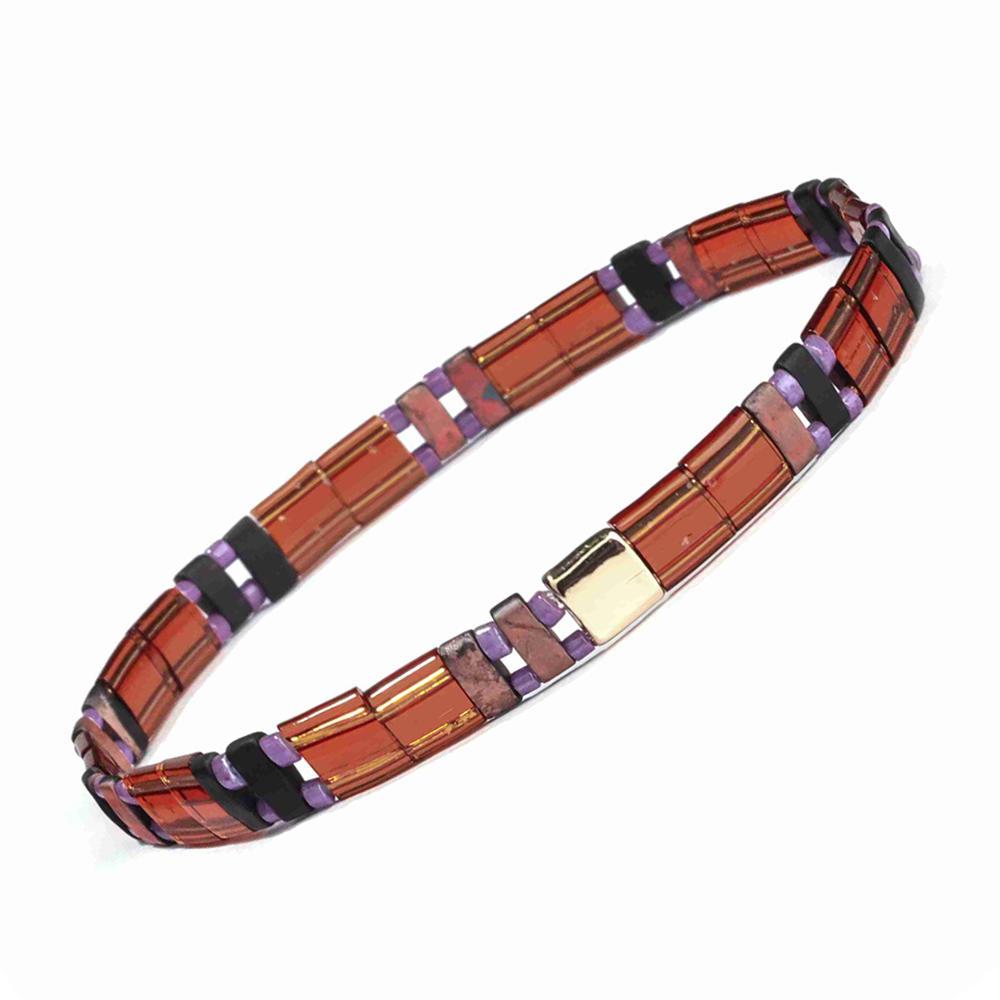Women Jewelry Handmade Translucent Red Tila Purple Color Miyuki Bead Bracelet