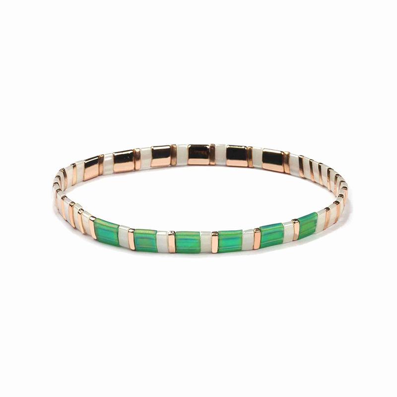 Popular Fresh Lady Jewelry Handmade Green and Silvery Color Translucent Miyuki Tila Bead Bracelet