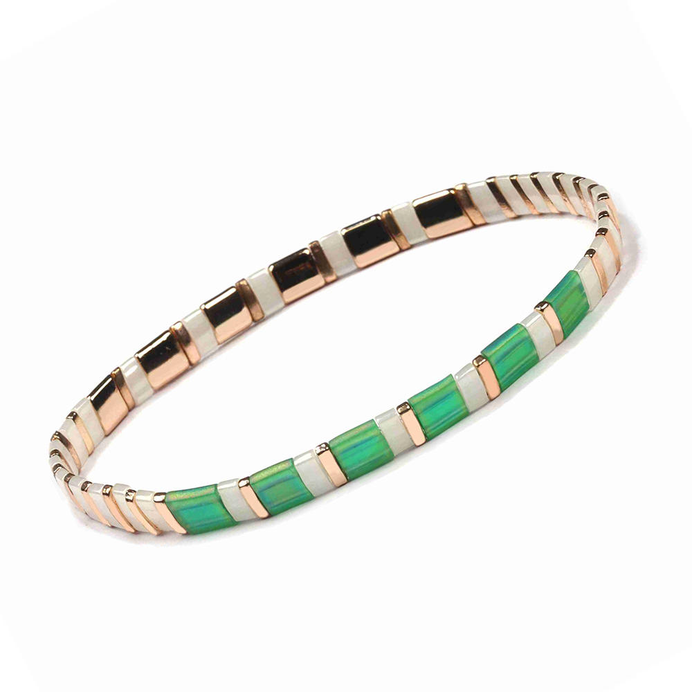 Popular Fresh Lady Jewelry Handmade Green and Silvery Color Translucent Miyuki Tila Bead Bracelet