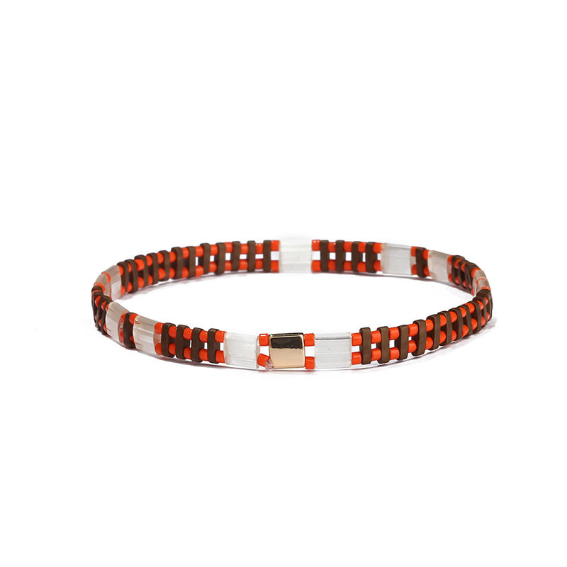 New Design Vogue Trendy Wholesale Handmade Translucent Orange Color Miyuki Bead Bracelet Ladies Jewelry