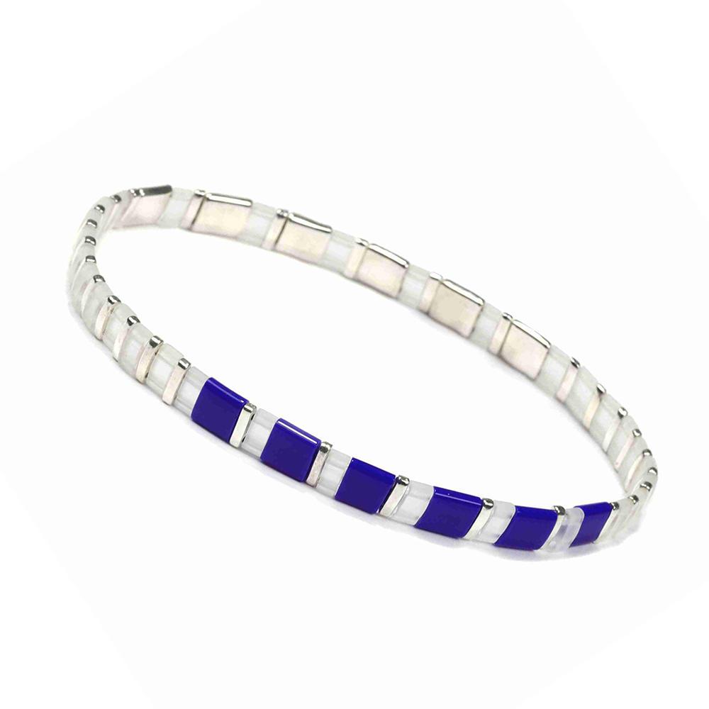 Friendship Fresh Lady Jewelry Handmade  Translucent Blue and Silvery Color Tila Bead Bracelet