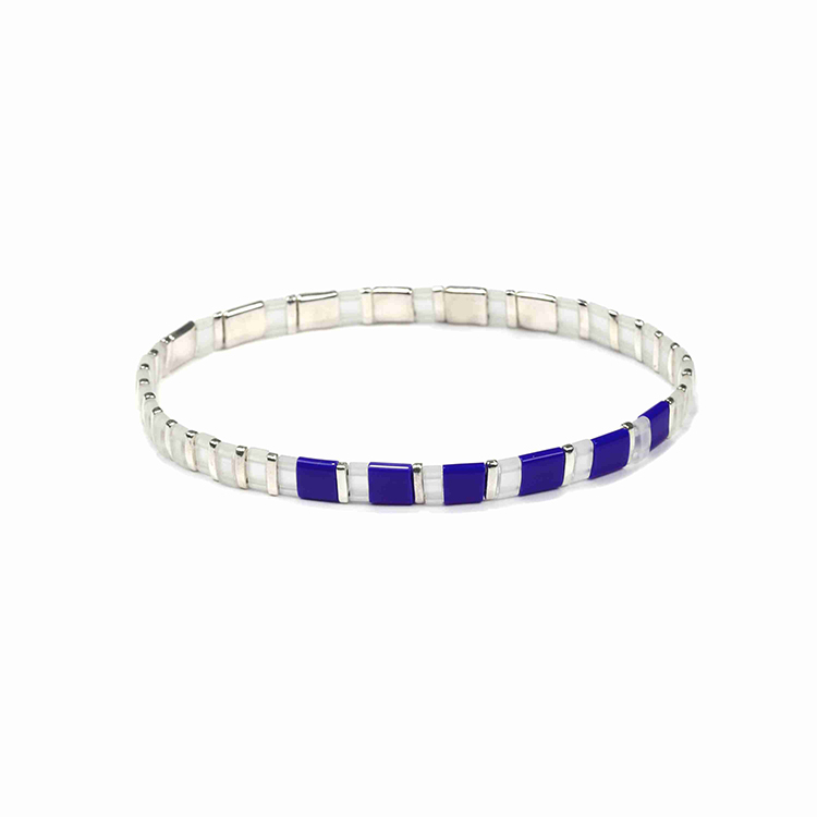 Translucent blue and white color miyuki tila bead handmade bracelet wholesale women jewelry