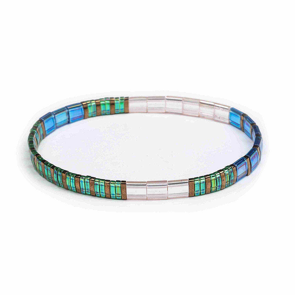 Popular Wholesale Handmade Translucent Green and Bronze Color Dazzle Blue Tila Bracelet Women Jewelry