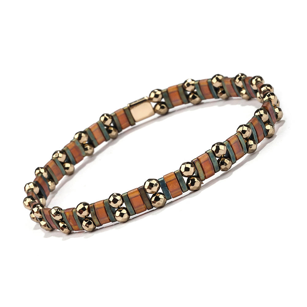 Top Quality Stylish Handmade Dark Style Bronze Color Hematite Wholesale Tila Bracelet