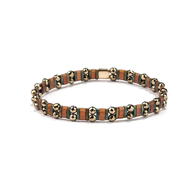 Autumn style dark color brown and gray translucent gold plated hematite tila bracelet