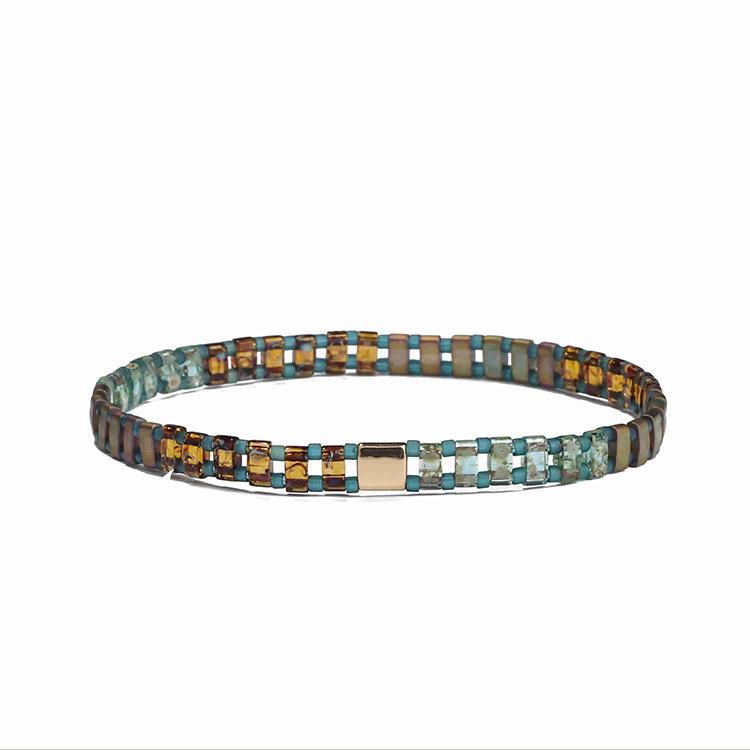 Dark System Wholesale Handmade Jewelry Bronze Translucent Tila Blue Color Beads Bracelet