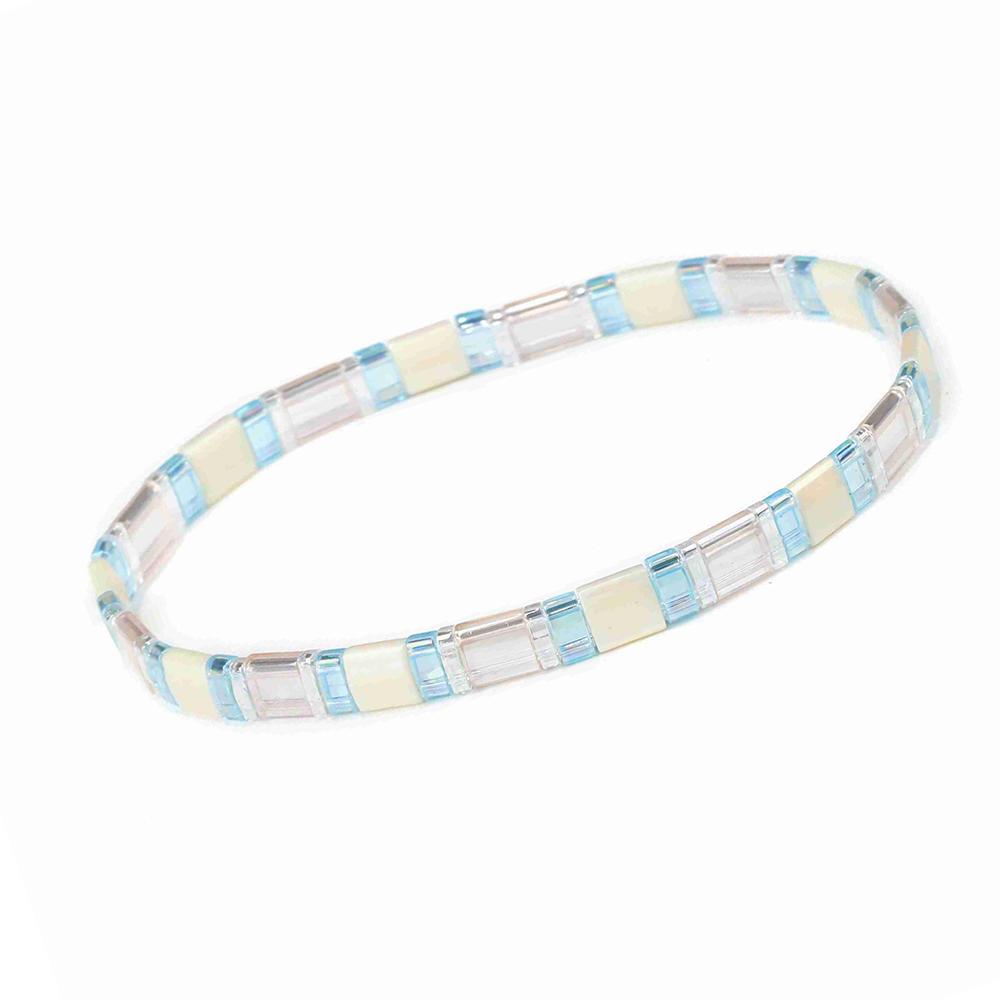 Stylish Women Jewelry Translucent Beige and Blue Wholesale Handmade Tila Bead Bracelet