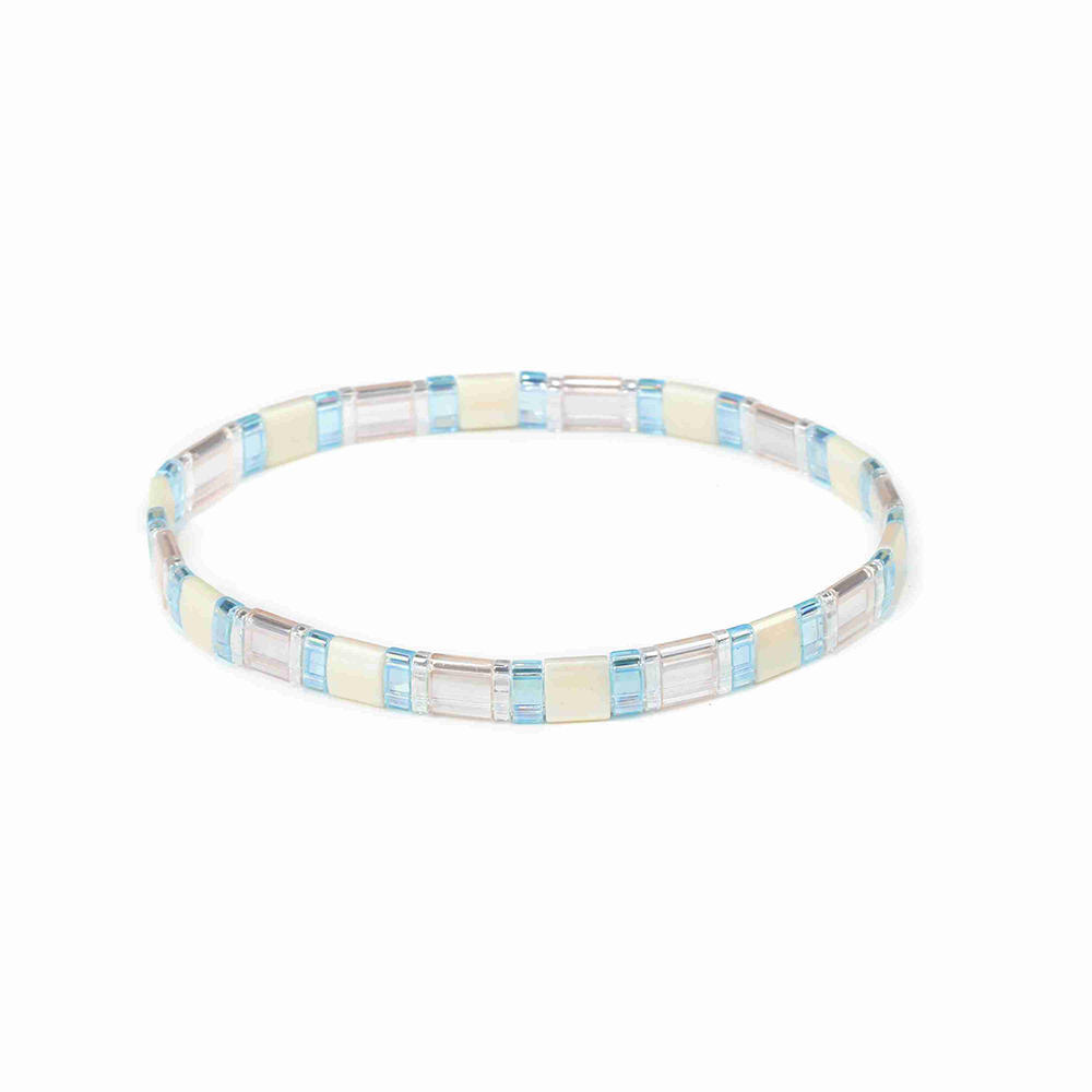 Stylish Women Jewelry Translucent Beige and Blue Wholesale Handmade Tila Bead Bracelet