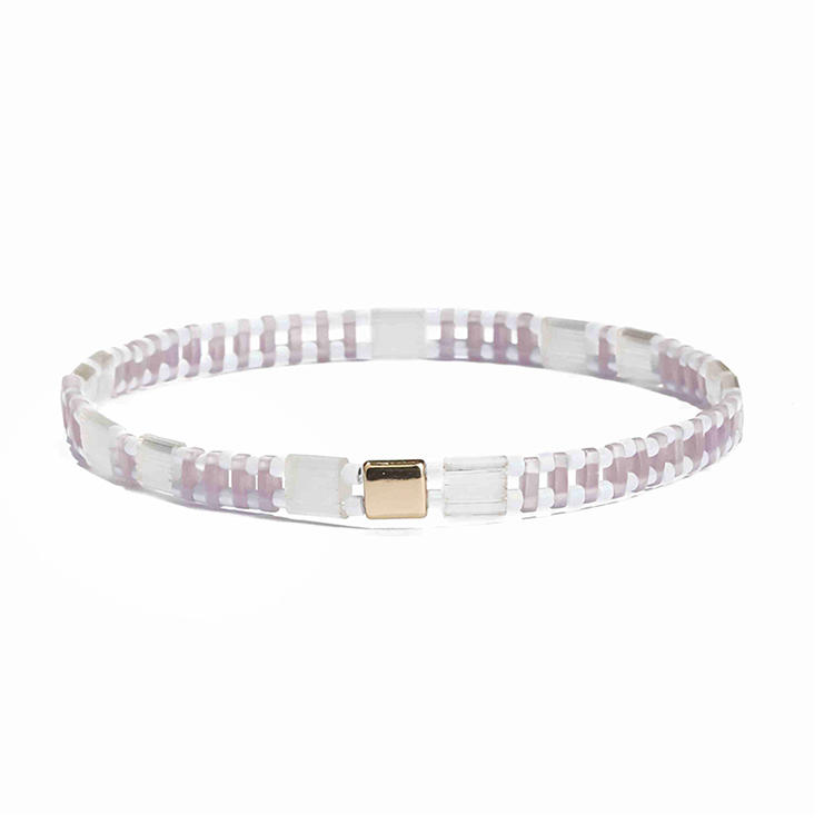 Lovely Fresh Handmade Wholesale Pink Color Translucent Tila White Bead Bracelet