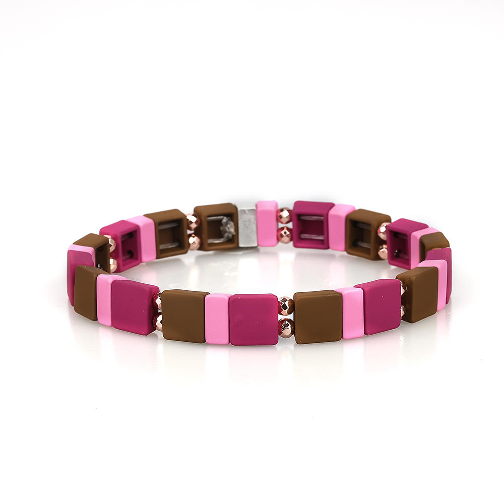 High Quality Women Jewewlry 3Pcs Handmade Red Rose and Brown Color Enamel Bracelet