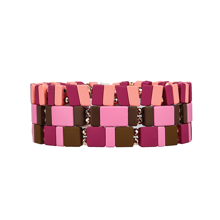 Pink series color 3Pcs handmade tile hematite enanmel bracelet women jewelry