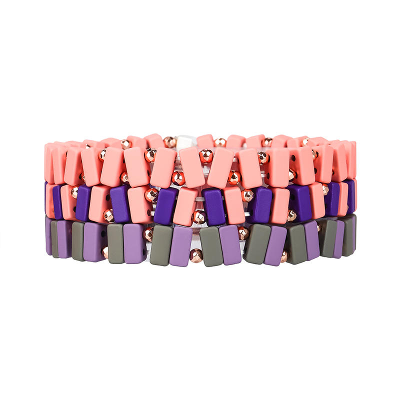 Stylish Handmade Wholesale Pink Blue and Gray Color 3Pcs Enamel Hematite Bracelet For Women