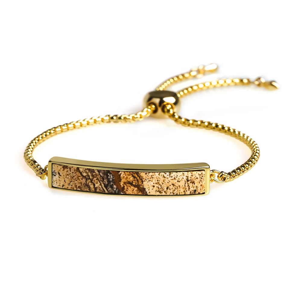 Women Jewelry Wholesale Plating Semilunar Natural Picture Jasper Adjustable Sliding Copper Hand Chain Bracelet