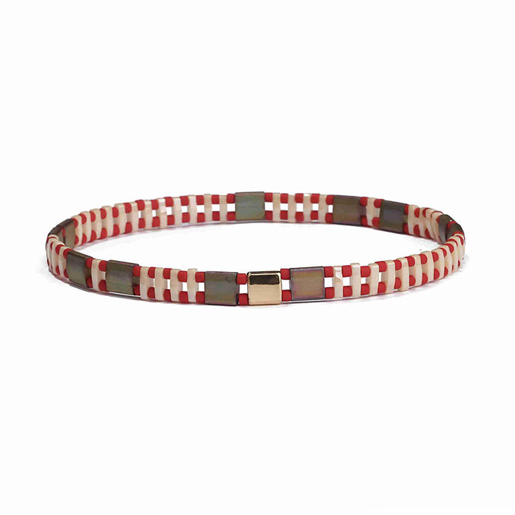 Vogue New Desgin Wholesale Handmade Brown Frosted Tila Red and Beige Bead Bracelet