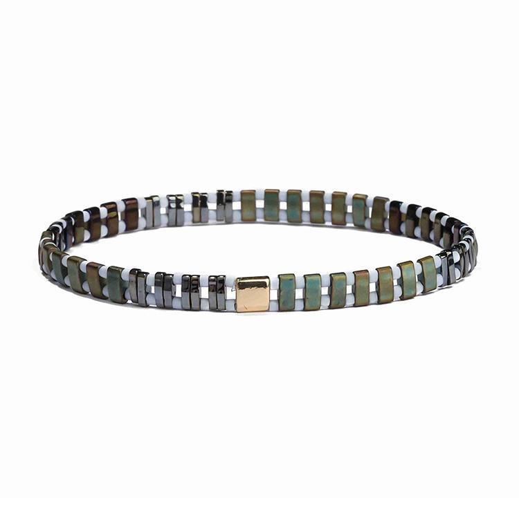 Popular Wholesale Fresh Friendship Brack and Green Color Frosted Tila white Bead Handmade Bracelet