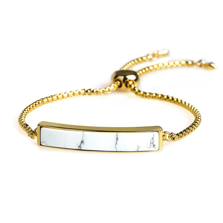 New Fashion 18K Gold Plating natural Howlite Slider Bracelet
