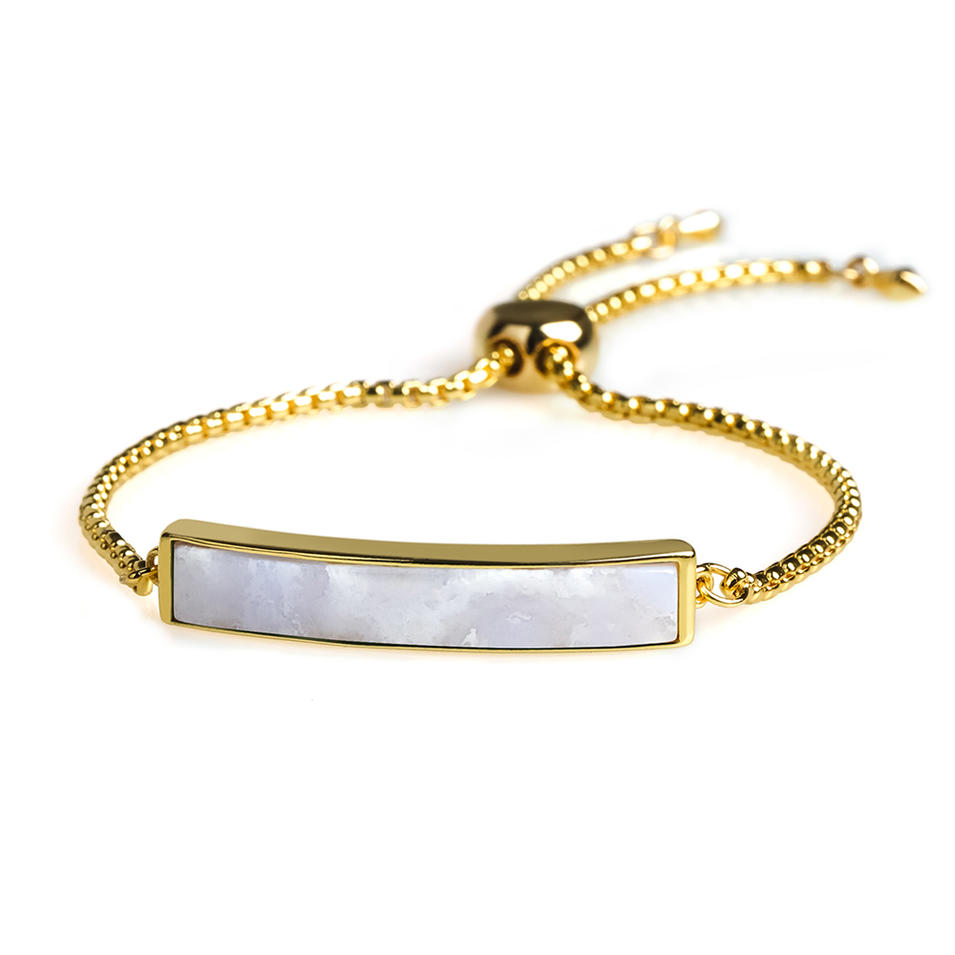 Personalized Vogue Wholesale Blue Agate 18k Gold Plating Silder Bracelet Hand Chain