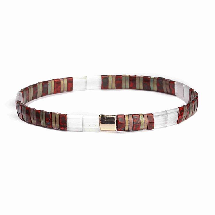Full New Trendy Wholesale Handmade Translucent Red Brown Tila Bead Bracelet Women Jewelry