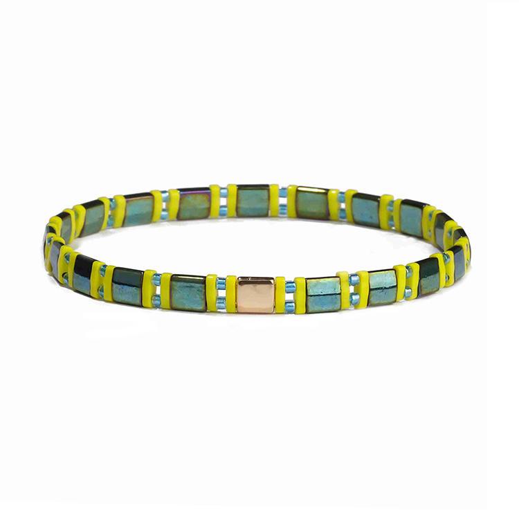 Beautiful Wholesal Handmade Dazzle Dark Green Tila Blue Color Miyuki Bead Bracelet Women Jewelry