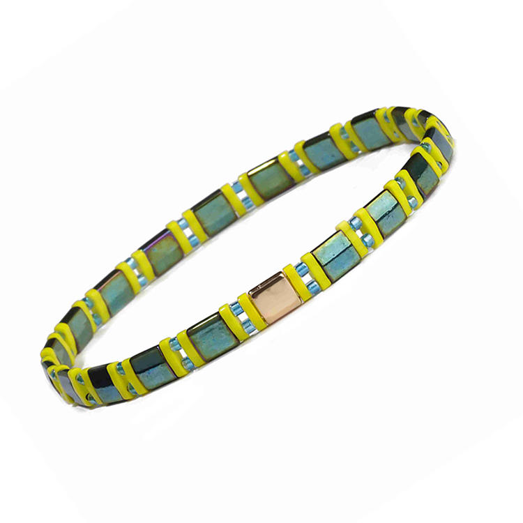 Beautiful Wholesal Handmade Dazzle Dark Green Tila Blue Color Miyuki Bead Bracelet Women Jewelry