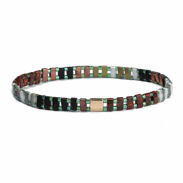 TTT Jewelry Autumn Trendy Drak Black Brown Gray Frosted Tila Green Color Bead Bracelet