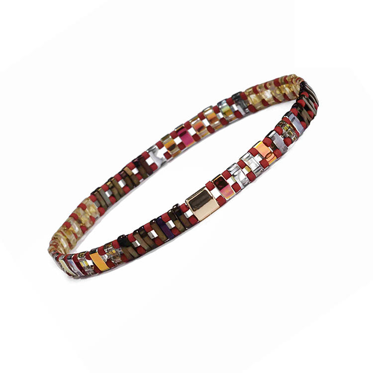 Hot Wholesale Women Jewelry Handmade Colorful Dazzle Tila Bead Bracelet