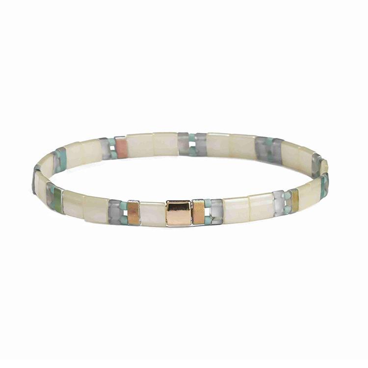 Spring Fresh Trendy Wholesale Handmade Translucent Beige Light color Tila Bead Bracelet