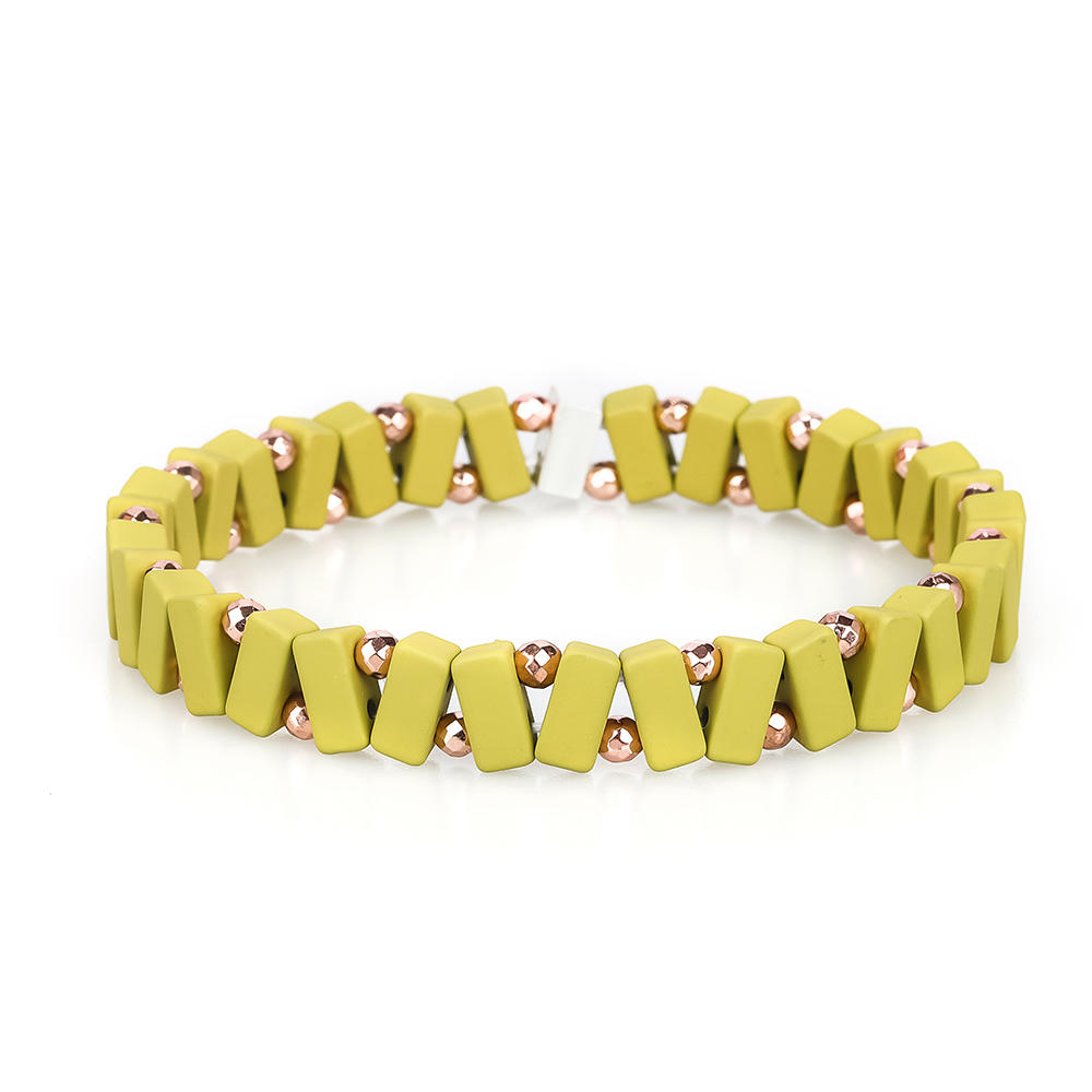 TTT Jewelry New Trendy 3Pcs Wholesale Hematite Yellow Beige Grass Color Enamel Bracelet Women Jewelry