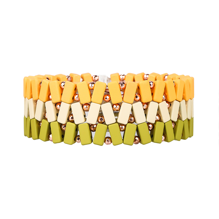 Beige grass and yellow 3 colors small strip hematite tile enamel bracelet