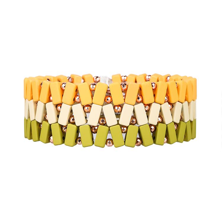 Beige grass and yellow 3 colors small strip hematite tile enamel bracelet