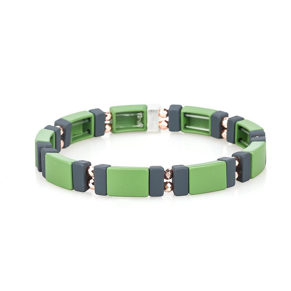 Autumn Trendy 3Pcs Colorful Camouflage Handmade Women Jewelry Hematite Enamel Bracelet