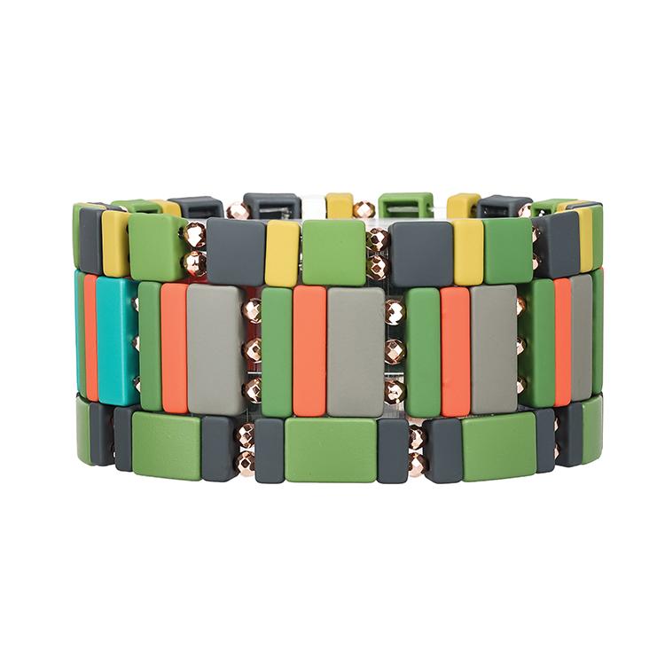 Mix green gray black color hametite handmade tile bracelet