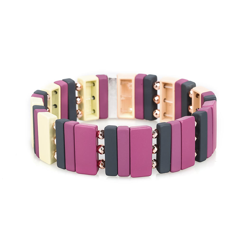 Top Quality Wholesale Handmade Women Jewelry 3Pcs Purple Beige Color Enamel Bracelet