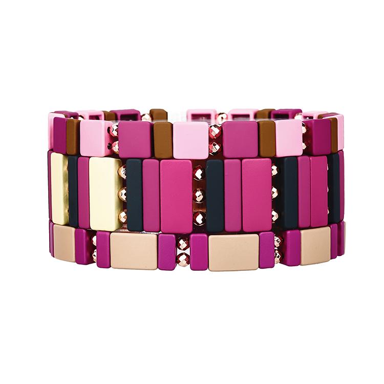 Beige black brown pink and light purple color enamel hematite tile bracelet