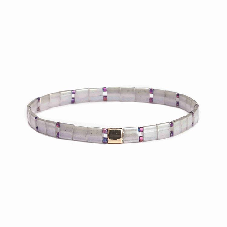 Popular Handmade Wholesale Gray Color Translucent Miyuki Tila Bead Bracelet Women Jewelry