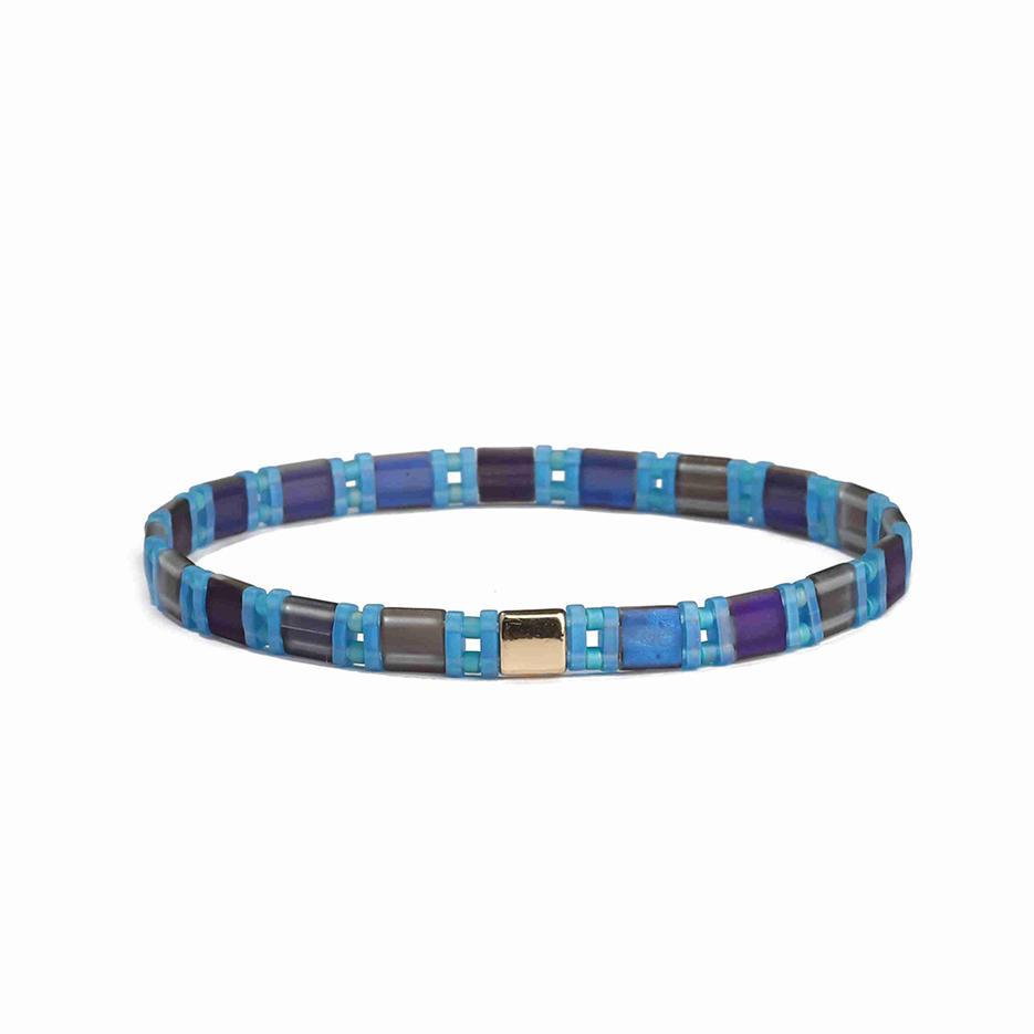 Handmade Wholesale Sky Blue and Brown Color Forsted Tila Bead Bracelet