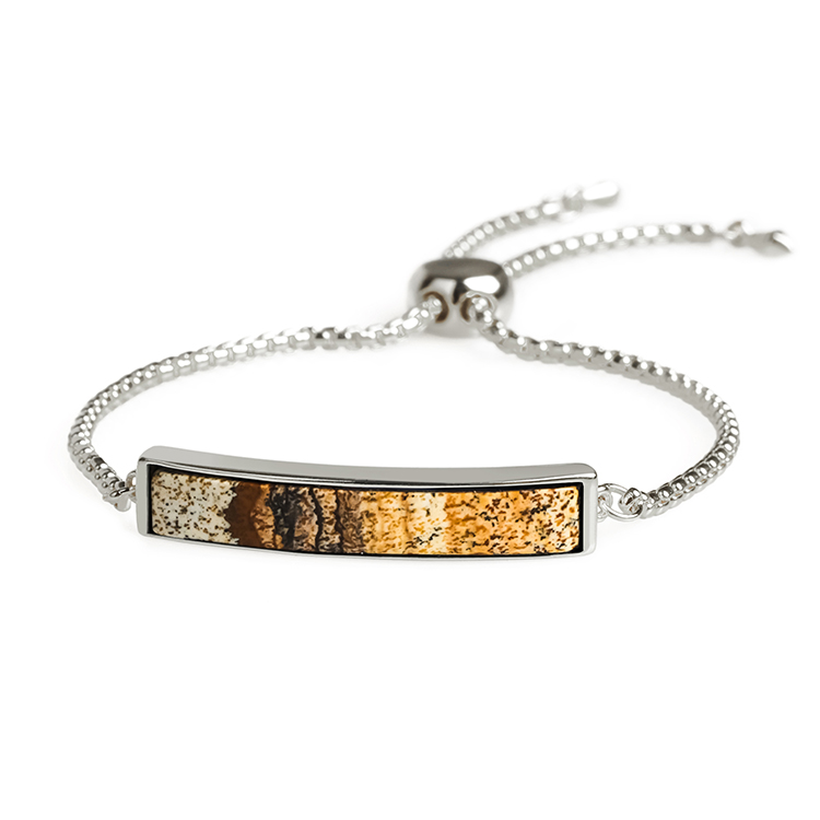 Natural Picture Jasper Gold Plating Slider Braclet