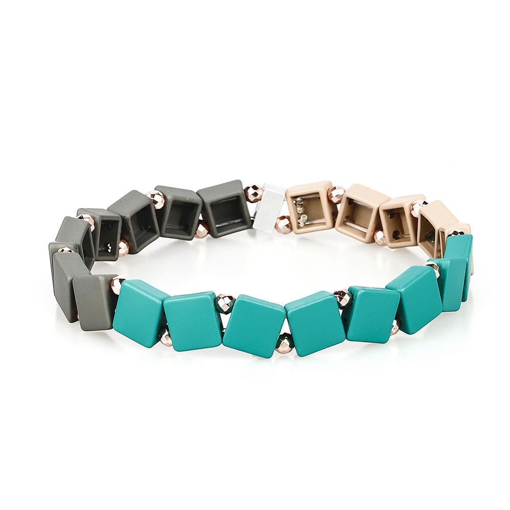 2019 Full New Design Wholesale Handmade Violet Black and Green Gray Color Hematite Enamel Bracelet