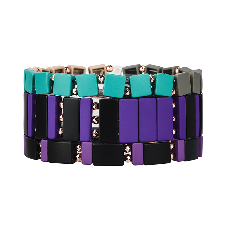 violet black gray and sky blue color enamel hematite handmade tile bracelet women jewelry