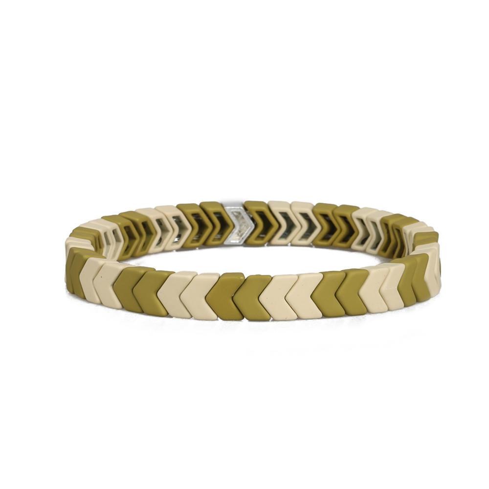 Women Jewelry Wholesale Handmade Green Yellow and Beige Color Matte Enamel Bracelet
