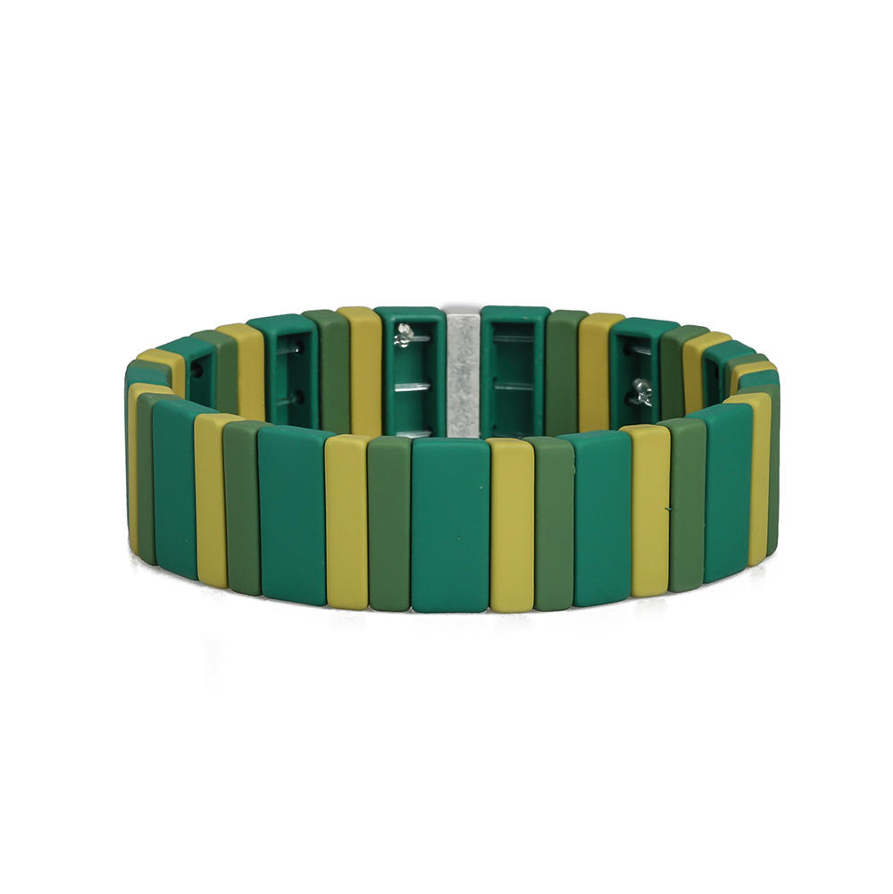 Women Jewelry Wholesale Handmade Green Yellow and Beige Color Matte Enamel Bracelet