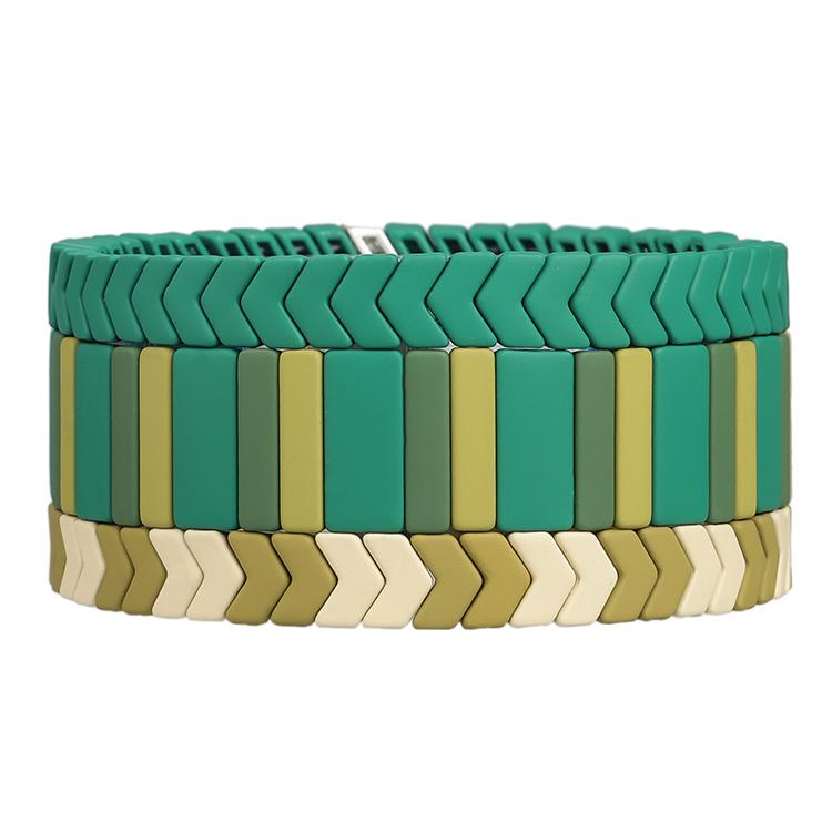 beige khaki green color Arrow shape matte handmade tile bracelet