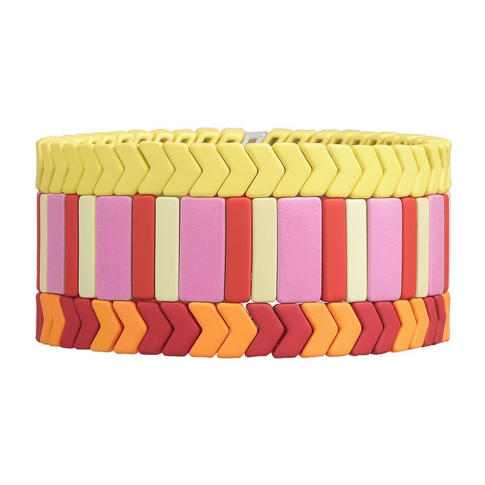 OEM ODM Manufacturer Handmade Bright Color 3Pcs Matte Enamel Bracelet Women Jewelry