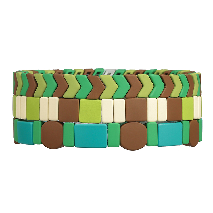 3pcs round matte Camouflage beige grass green color handmade tile enamel bracelet