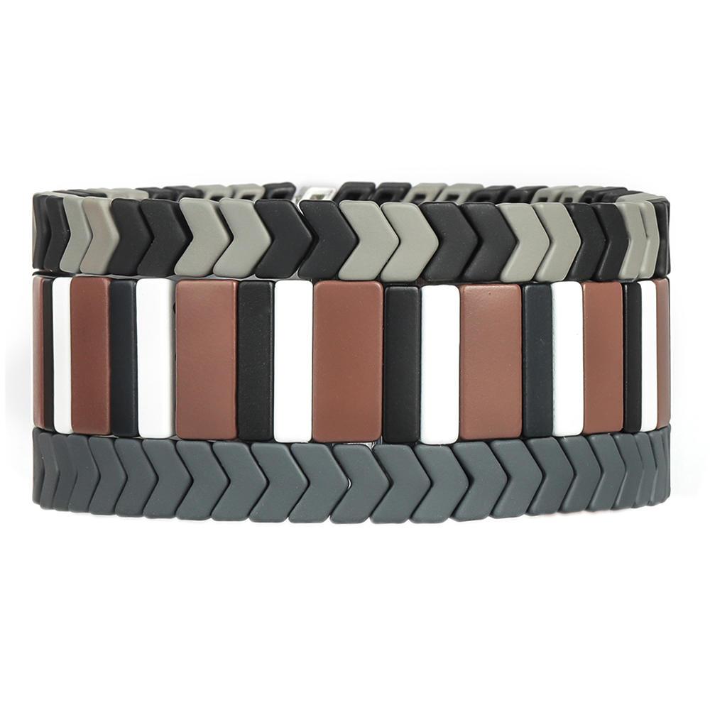 Dark Trendy Handmade Wholesale Black Gray White Color Matte Enamel Bracelet Women Jewelry