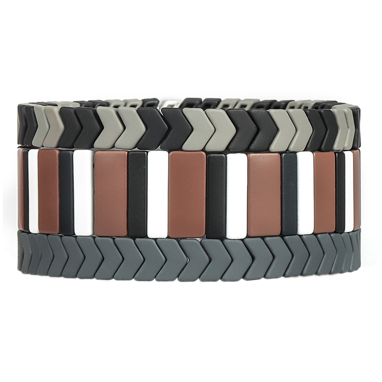 simple stylish beige white and black color matte handmade tile enamel bracelet